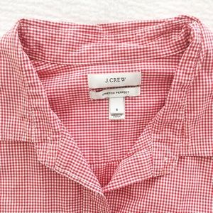 J. Crew red gingham stretch perfect button-up
